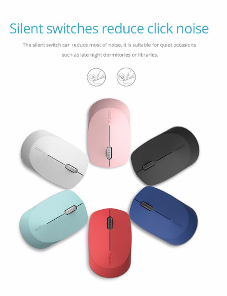 Rapoo M100 Silent Multi-mode Wireless Mouse สีแดง ประกันศูนย์ 2ปี ของแท้ เสียงคลิกเบา (Red)
