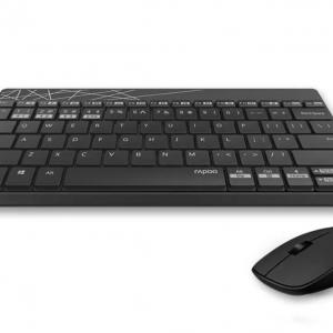 Rapoo 8000M Keyboard Mouse Combo Multi-mode Silent Wireless Bluetooth สีดำ - ขาว แป้นภาษาไทย/อังกฤษ ของแท้ ประกันศูนย์ 2ปี เมาส์และคีย์บอร์ด ไร้สาย (Black & White)