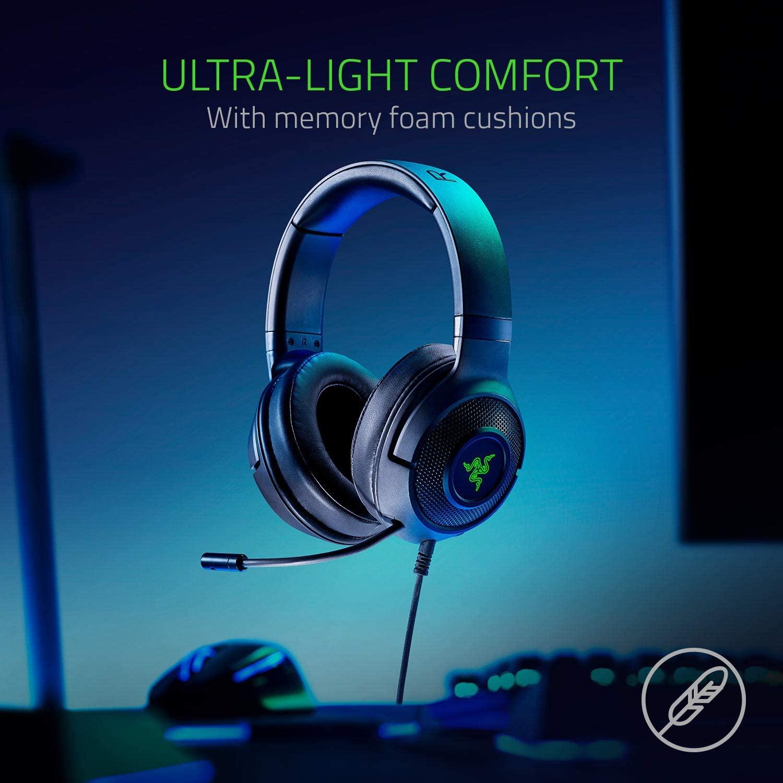 Razer Kraken X USB Classic Black 7.1 Surround Sound Gaming Headset สีดำ ประกันศูนย์ 2ปี ของแท้ หูฟังสำหรับเล่นเกม (Black)