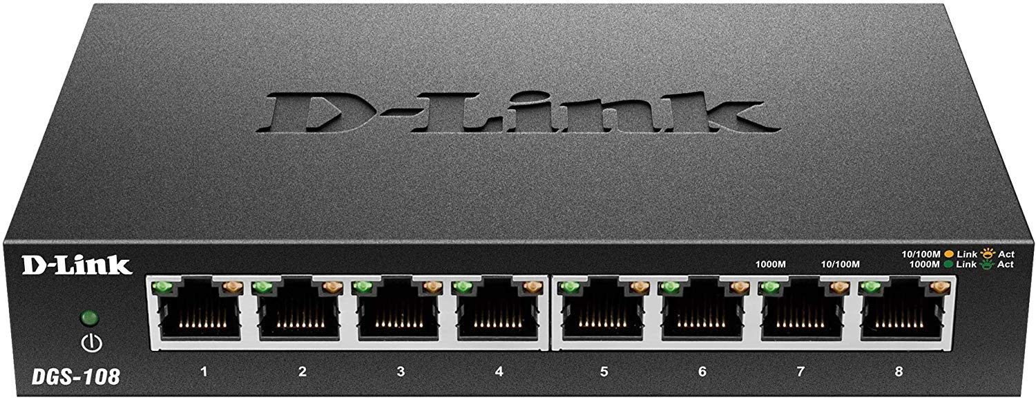 D-Link DGS-108 8-Port Gigabit Unmanaged Desktop Switch ของแท้ ประกันศูนย์ Limited Lifetime