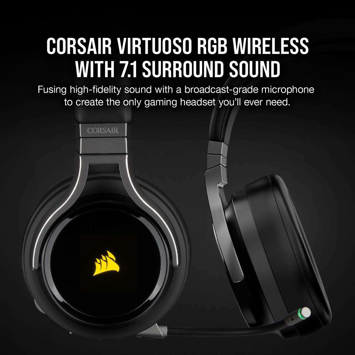 Corsair Virtuoso RGB Wireless Gaming Headset สีดำ ของแท้ ประกันศูนย์ 2ปี (Black)