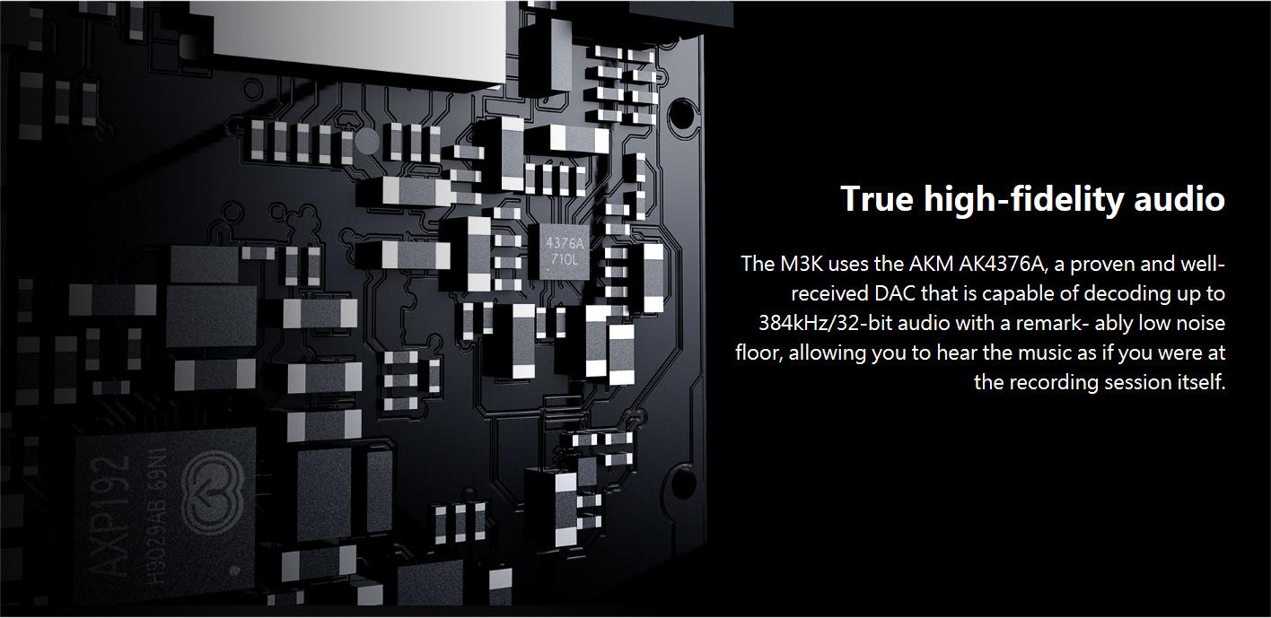 FiiO M3K สุดยอด DAP ระดับ Hi-Res อัดเสียงได้ สีดำ ของแท้ ประกันศูนย์ 1ปี (Black)